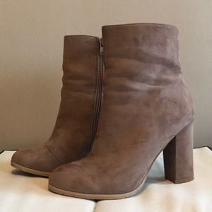 Faux Suede High Heeled Booties